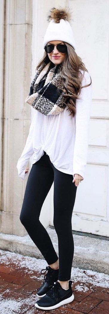 #winter #fashion / White Beanie / Checked Print Scarf / White Top / Black Leggings / Black Sneakers