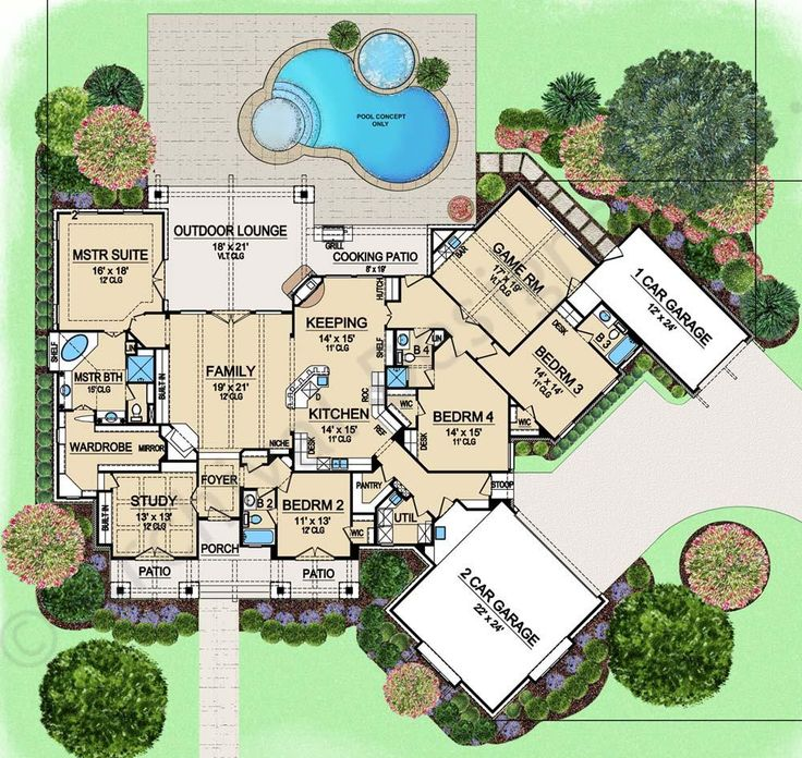 434 best floor plans images on pinterest house floor for Big ranch house plans