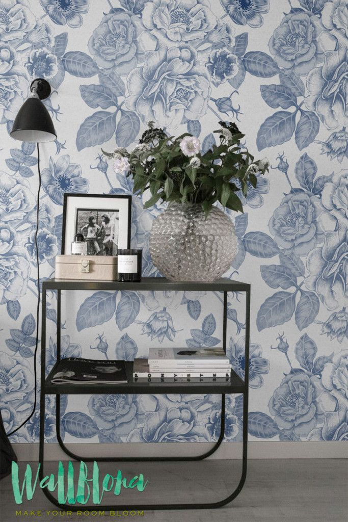Rose, Peony, Anemones, Bluebells Print Wallpaper - Removable Wallpaper - Vintage Wall Decal - Retro Wall Sticker - Self Adhesive Wallpaper