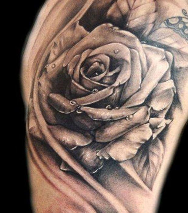 tatouage fleur rose noire