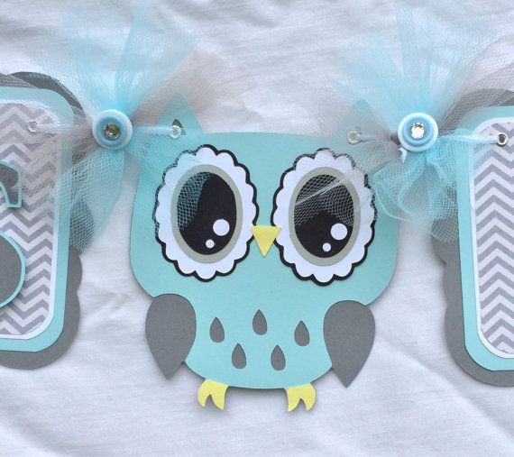 Owl baby shower banner, owl banner, gray and blue, owl decorations, photo prop, its a boy banner