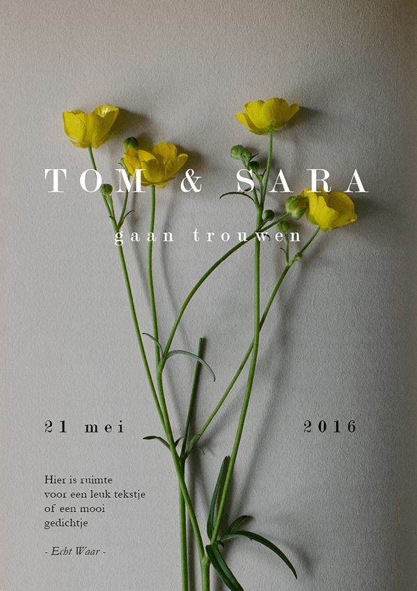 "Trouwkaart ""Wild Flower"" bloemen boek simpel stijlvol| Wedding invite, stylish, flowers | The Dance Part"