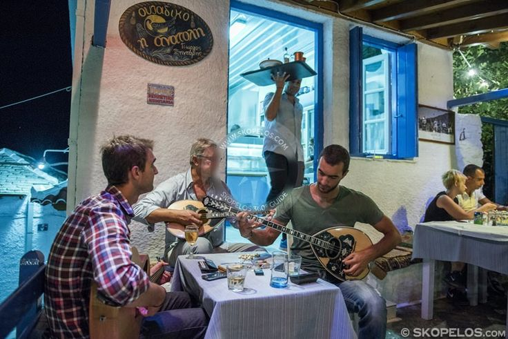 Giorgos Xintaris is one of the most representative musicians of #Rembetiko. He is a native of #Skopelos and was born on the island in 1952.  For more than 20 years now, he has welcomed friends and visitors at the place that he sings named Anatoli during the summer.