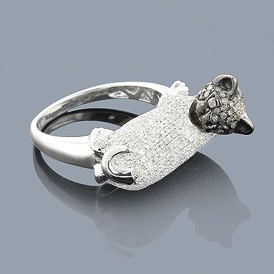 Diamond Cat Ring 2.36ct Sterling Silver