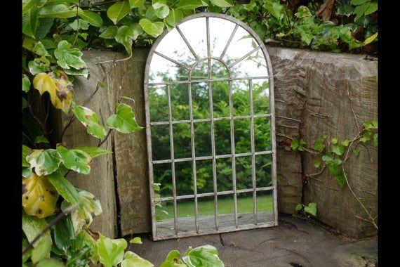 Metal Gothic Garden Mirror with Vintage Metal Finish