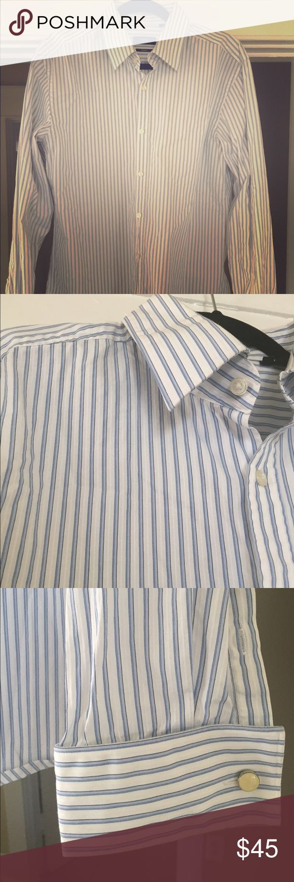 Men's Hugo Boss Slim Fit Dress Shirt Like new, gently used slim fit Hugo Boss dress shirt. Blue, and pearly white stripes. No rips tears or stains! Beautiful shirt.  Medium, slim fit. Hugo Boss Shirts Dress Shirts