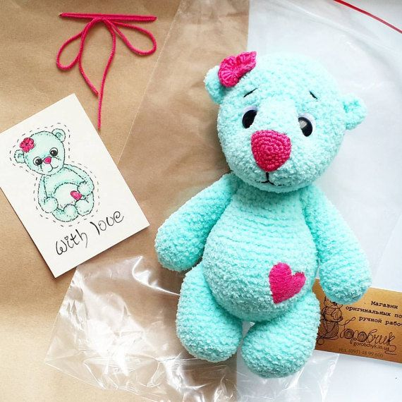 Plush toy crochet Bear Serdtsepuz for children by GorobchykShop