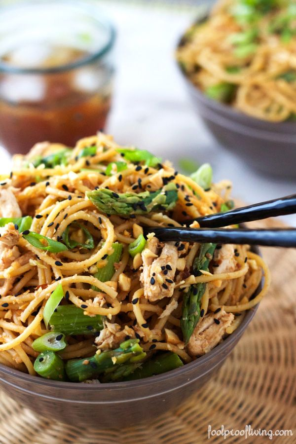 Sesame Noodles with Chicken and Asparagus. Delicious, simple, filling, and healthy. All in one simple homemade Asian dish