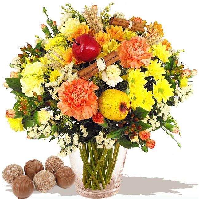 Bouquet of Flowers - Cinnamon Spiced Apple Wrap & Chocolates  www.eden4flowers.co.uk