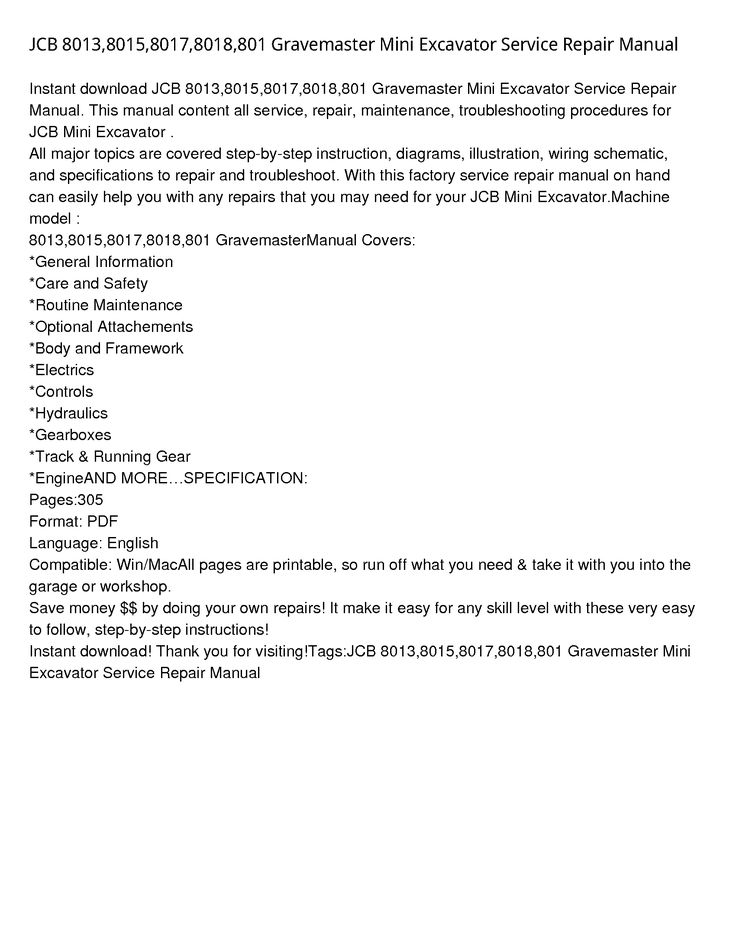 8015 Gravemaster Mini Excavator Manual In 2020 Mini Excavator Repair Manuals Repair