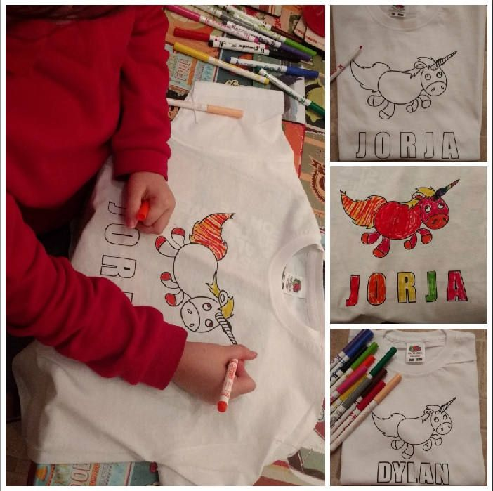 Colour your own tshirt, kids design your own tshirt, colouring, christmas gift, stocking filler, make your own, creative, party gift,color by DragonflyPersDesigns on Etsy