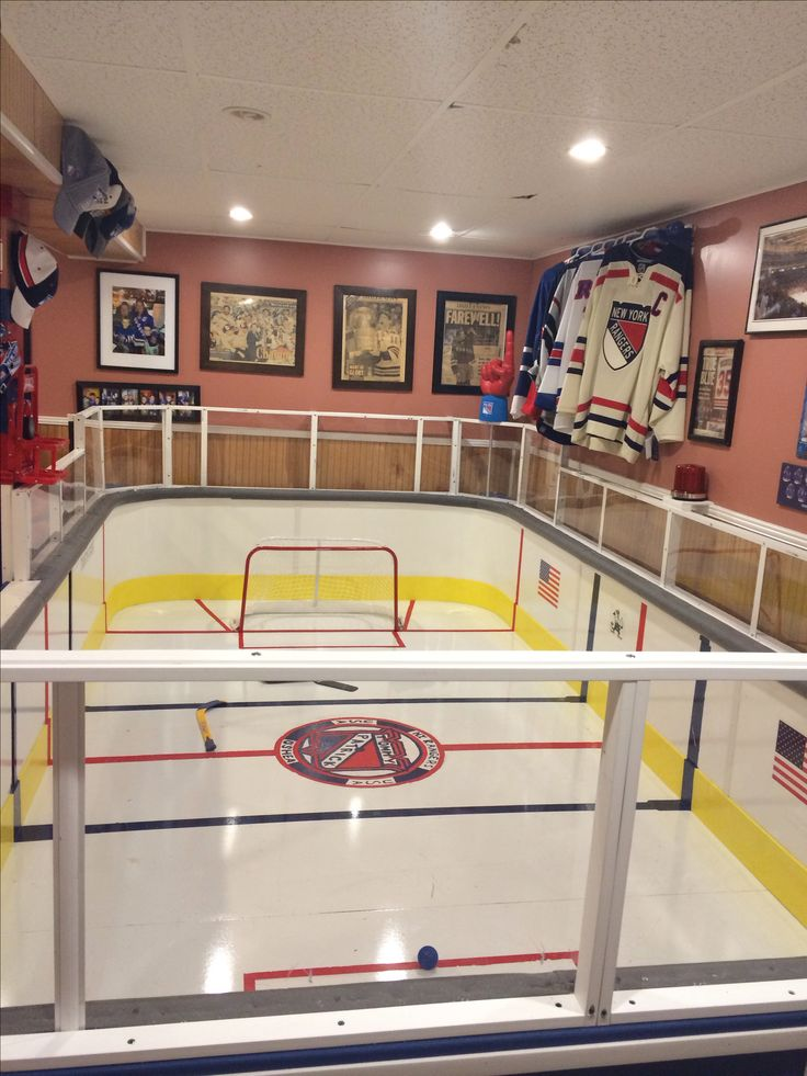 Cool!! Hockey Rink in basement