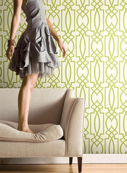 Large Lattice Wallpaper In Green And White Design By Carey Lind For Yo Part 68