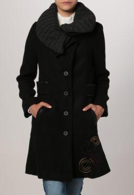 Desigual Olga Abrigo De Paño Clásico Negro abrigos y chaquetas Paño Olga negro desigual clásico Abrigo CentralModa.eu