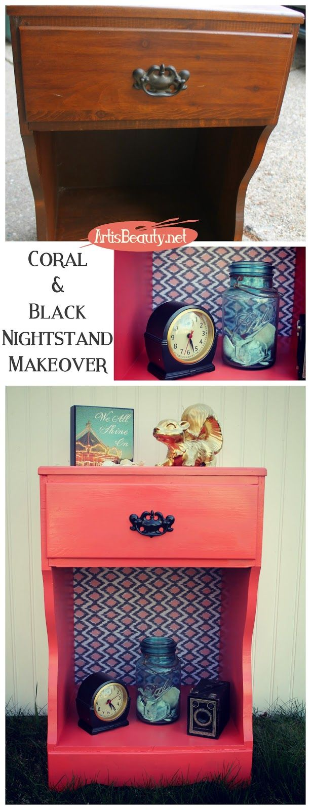 ART IS BEAUTY: Coral and Black Painted and Papered Nightstand Makeover