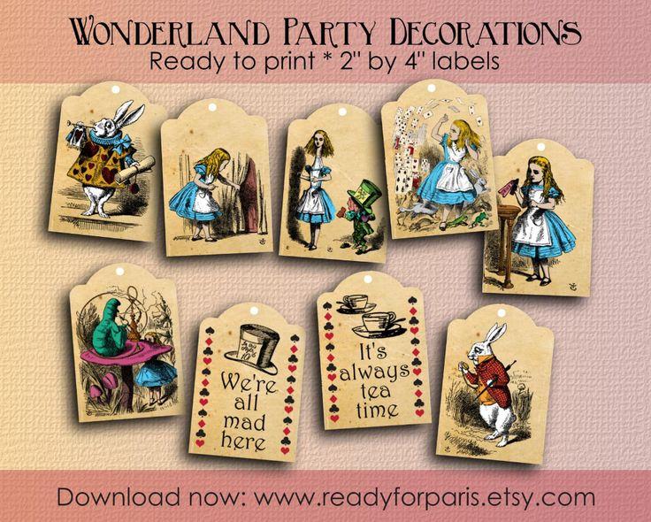 9 alice au pays des merveilles gift tags vintage anniversaire tea party décorations
