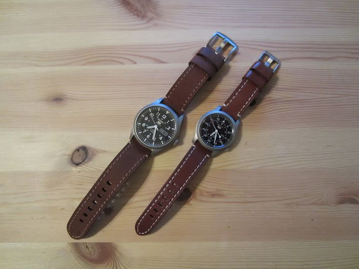 Left: Seiko 5 Military, 42mm, SNZG15, w/ a 22mm Crown & Buckle Marina Brown Vintage Leather Regular Length Strap. Right: Seiko 5 Military, 37mm, SNK809, w/ a 18mm Crown & Buckle Harbor Brown Leather Short Length Strap.