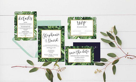 palm leaves invitations palm leaf tropical wedding invitations, tropical wedding invite, tropical wedding suite, greenery wedding invitation