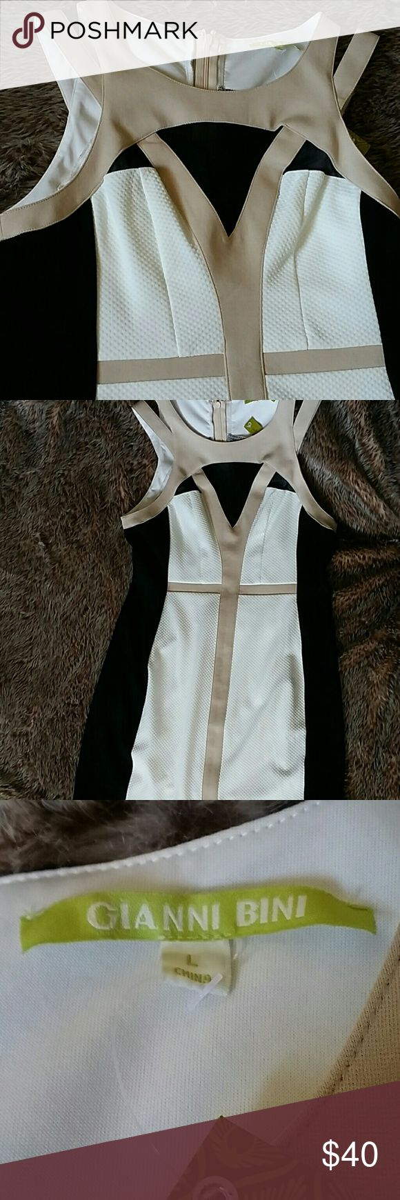 Gianni Bini Dress White ,beige, and black dress. Last picture is the back of the dress. Gianni Bini Dresses Mini