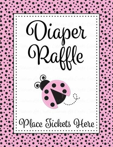 Pink Ladybug Baby Shower | Printable diaper raffle table sign and tickets for baby girl shower