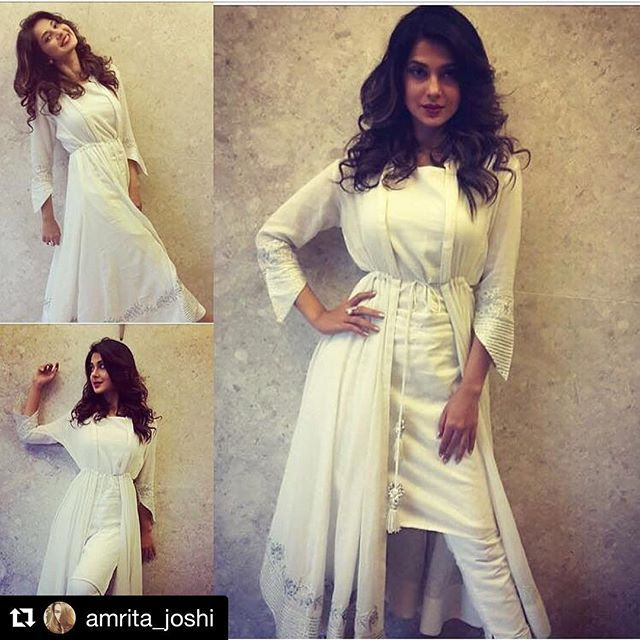 #Repost @amrita_joshi with @repostapp ・・・ Beyhadh Promotions Begin With Jennifer Winget wearing this beautiful angarkha!! Outfit by @sukritiandaakritiofficial  Accessories by @bayleafaccessories_in  Styled by @amrita_joshi
