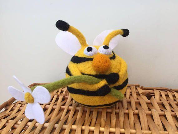 Needle Felted Bee Funny Bee Cute Bee Nursery Decor Fiber Arts