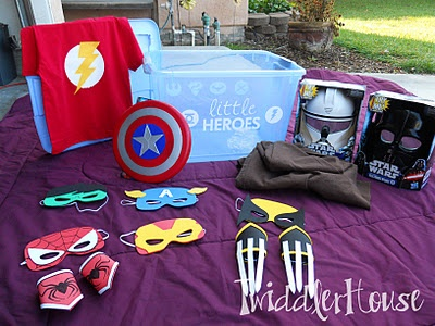 The Super Hero Dress up Box Superman, Wolverine, storm trooper, Capt. America- put your little guy's favorites in there!