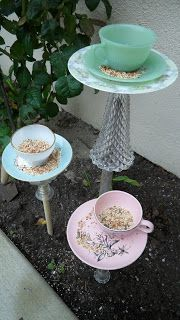 Kaleidoscope of Colors: DIY 10 Minute Teacup Bird Feeder