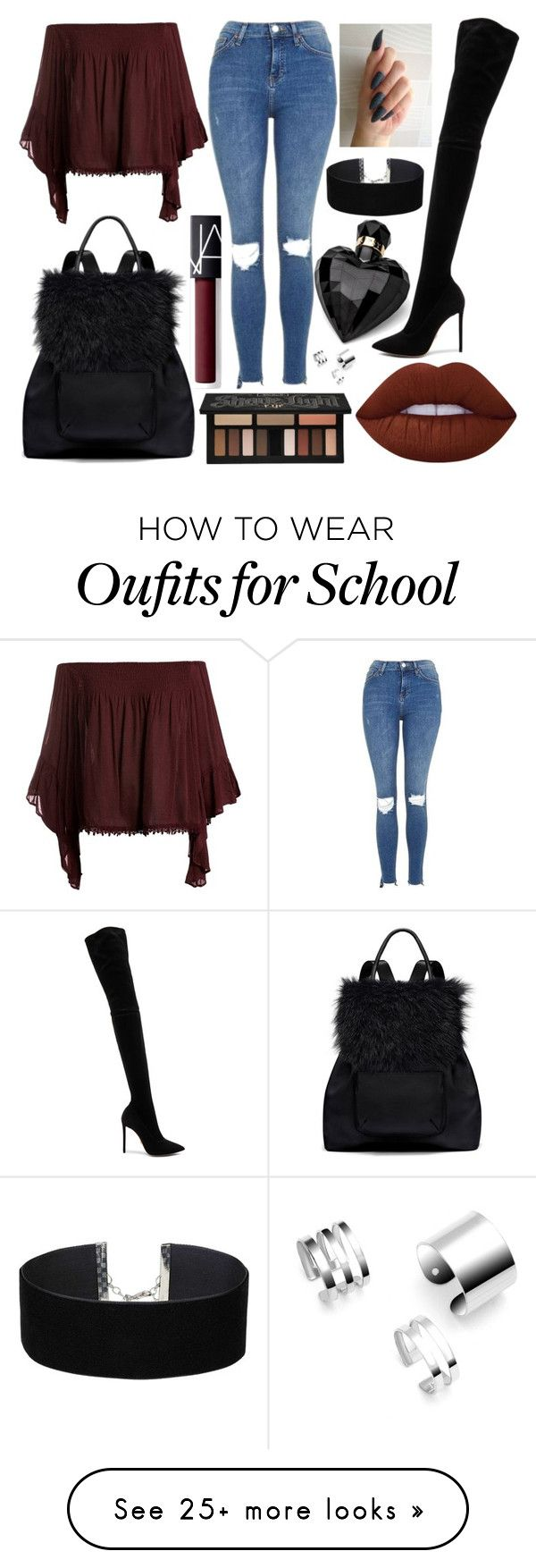 """School Day"" by susanna-trad on Polyvore featuring Lipsy, Sans Souci, Topshop, Oscar Tiye, Elizabeth and James, Lime Crime, NARS Cosmetics, Kat Von D and Miss Selfridge"