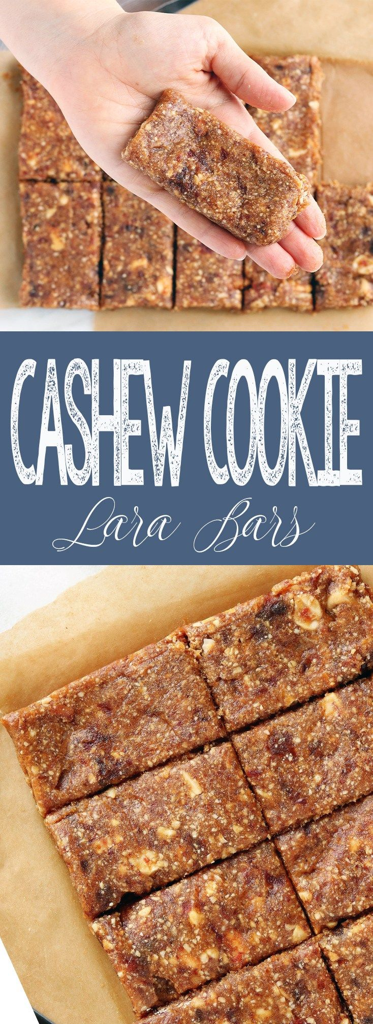 """A healthy, easy recipe for 3-Ingredient Cashew Cookie """"Lara"""" Bars made with cashews, Medjool dates and sea salt. The perfect grab-n' go snack, these bars are vegan, gluten-free and Whole30 compliant."""