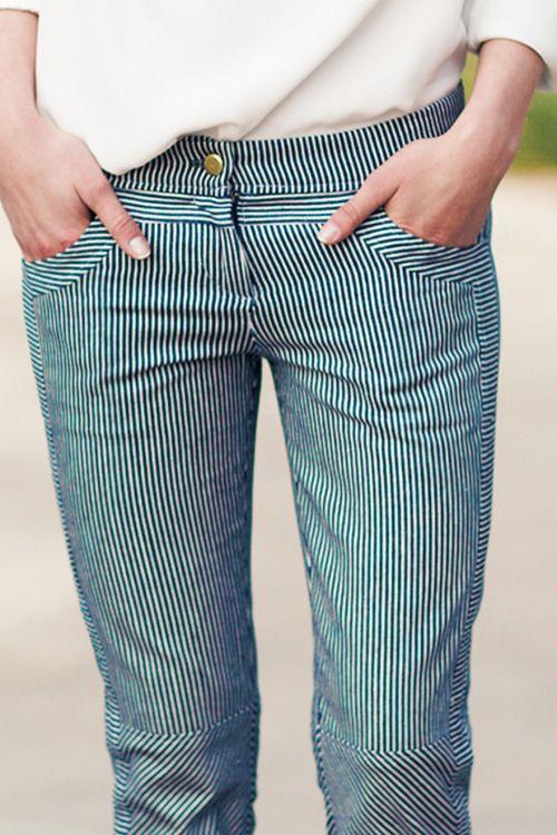 Railroad Stripe Cut Pant