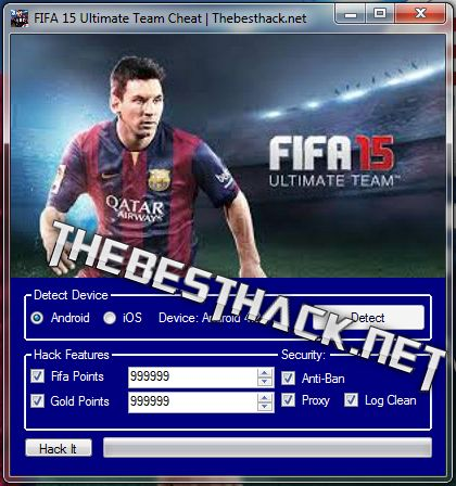 Download Fifa 15 Ultimate Team Hack Tool,  Cheat Engine  Hello all people. Thebesthack.net presents Fifa 15 Ultimate Team Hack iOS/android. Have a look at the new software. FIFA 15 Ultimate Team Hack is a software that was developed specifically for the game , who want to play a fully .   #an infinite number of Gold #an infinite number of Points #fifa #Fifa 15 Ultimate Team a lots of Gold #Fifa 15 Ultimate Team a lots of Points #Fifa 15 Ultimate Team Activate Gold #Fifa 1