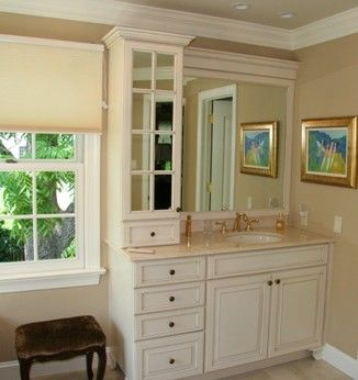 Photos On Single vanity tower cabinet on single sink counter Bathroom