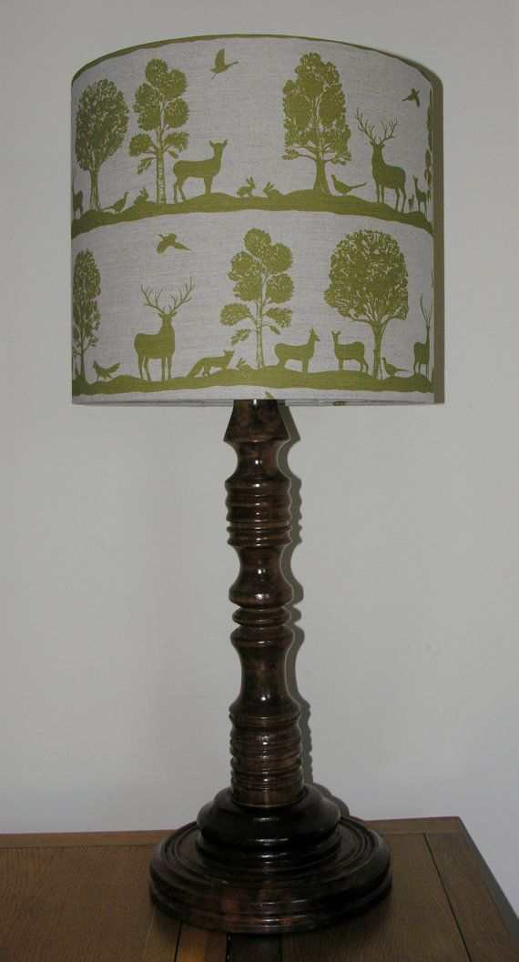 Woodland Friends - lampshade featuring Deer Birds Rabbits and Trees All Sizes Avaliable