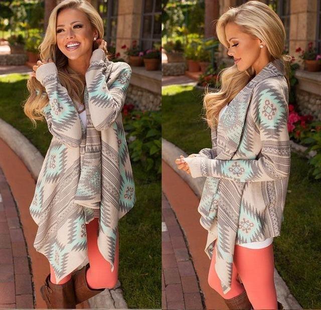 Autumn Casual Cardigan Women Pink Long Cardigan Female Sweater Collarless Long Sleeve Asymmetrical Print Knit Cardigan