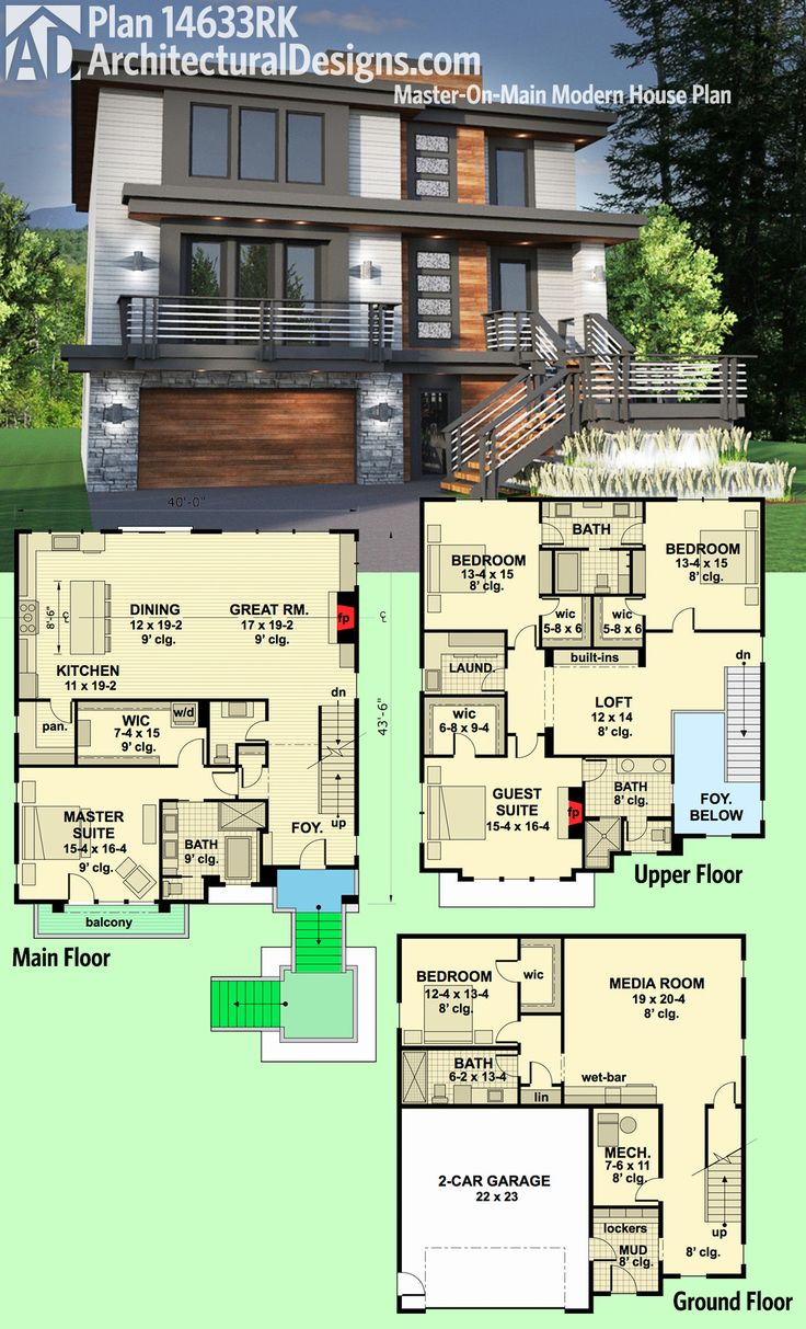 Architectural Designs Modern House Plan 14633RK gives you 5 beds including a master suite with its own private balcony and laundry. Ready when you are. Where do YOU want to build?