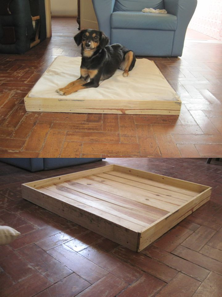 Cama para cachorro feita de resto de pallets, forração de ...