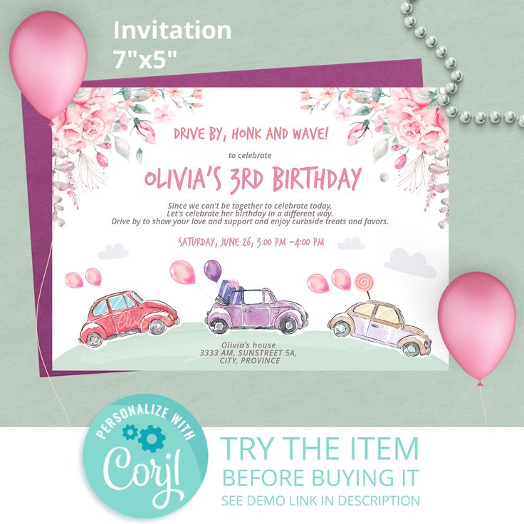 Lockdown Birthday. Drive By Birthday Parade Invitation