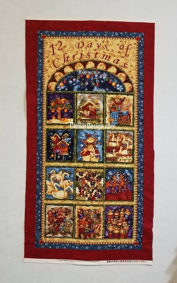Christmas Fabric Panel 12 Days of Christmas | Etsy in 2020