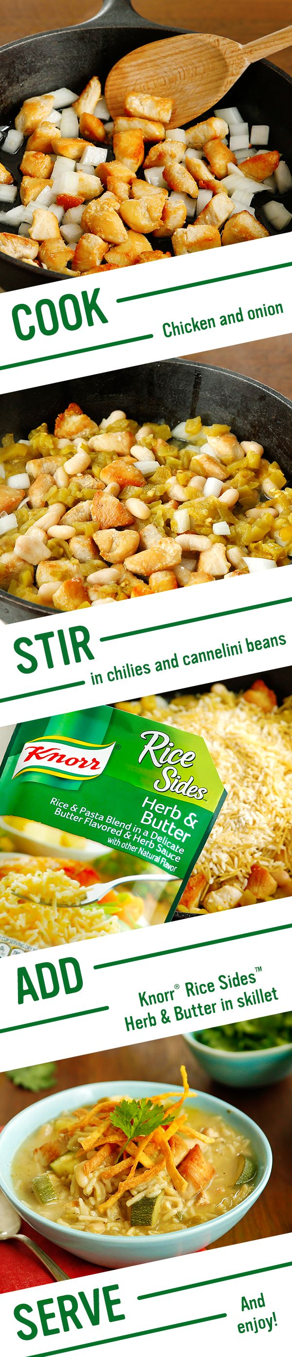 The best idea for an easy, homemade, family dinner? Knorr's flavorful White Bean Chicken Chili! The dish includes Southwestern staples: fresh zucchini, savory cilantro, & zesty limes. Make this meal in under 30 minutes tonight: 1. Cook chicken. Stir in ground cumin 2. Add canned chilies to cannellini beans, simmer Knorr® Rice Sides™ - Herb & Butter, & mix zucchini w/ lime juice 3. Serve w/ lime wedges, chopped fresh cilantro, & fried corn tortilla strips/chips. Enjoy!