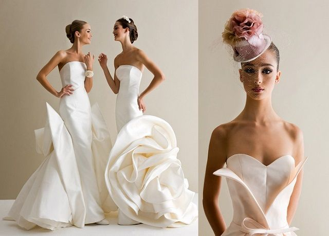 Architectural, but still feminine dresses by Antonio Riva are another option. Skillful use of smooth materials combined with intricate updo gives an amazing effect - simplicity and sophistication.