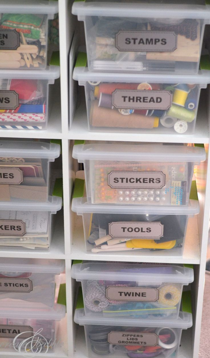 print and cut labels with your Silhouette to organize your craft room by createandbabble.com