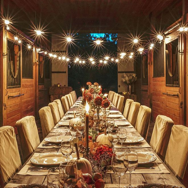 Barn Wedding Decor. Barn Wedding Decorating Ideas. Barn Wedding Decor.  Farm tables are custom, chairs are from Pottery Barn, table setting from Juliska and string lights are from Target.  #Barn #WeddingDecor Home Bunch's Beautiful Homes of Instagram @loveyourperch