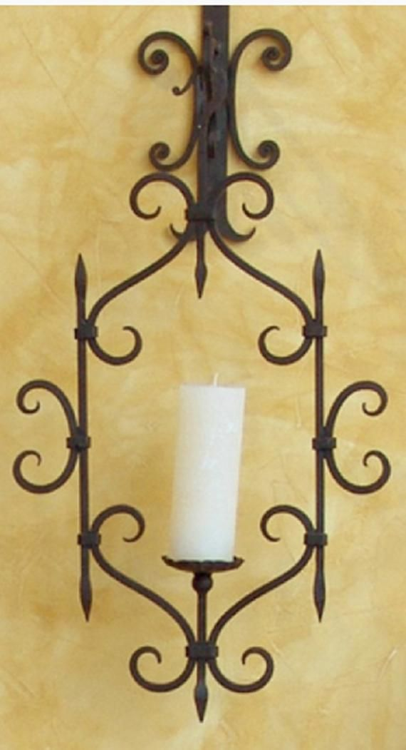 Moroccan Candle Holder Wall Sconce Black Wrought Iron Etsy