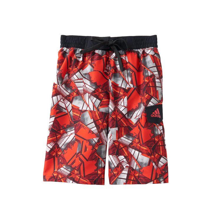 Boys 8-20 Adidas Geo City Board Shorts, Boy's, Size: Xl(18/20), Red