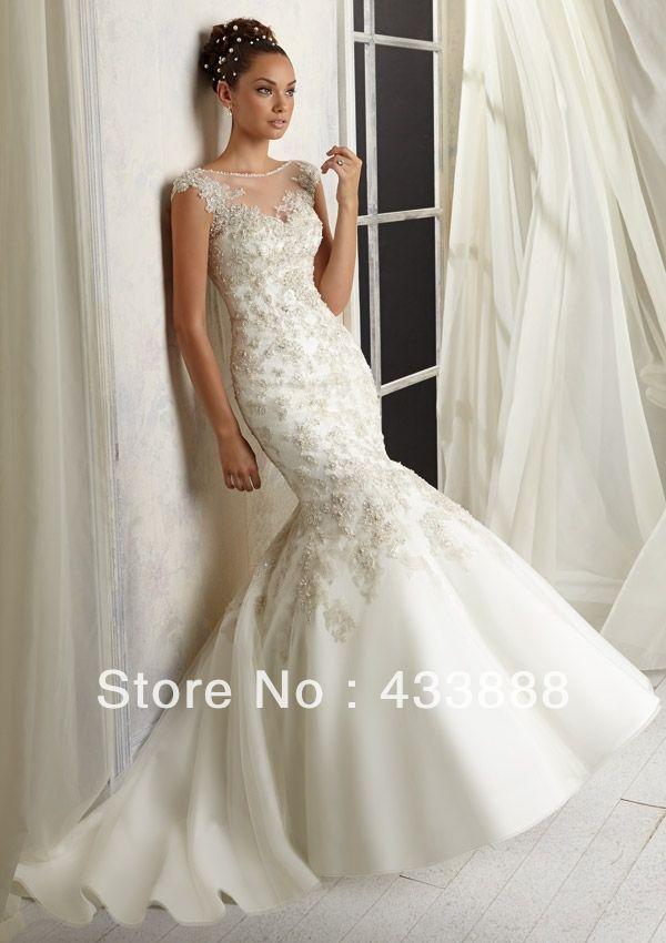 nieuwe aankomst sexy pure 2014 zeemeermin backless kralen parels juweel hals applique kant rechtbank trein trouwjurken jurk luxe