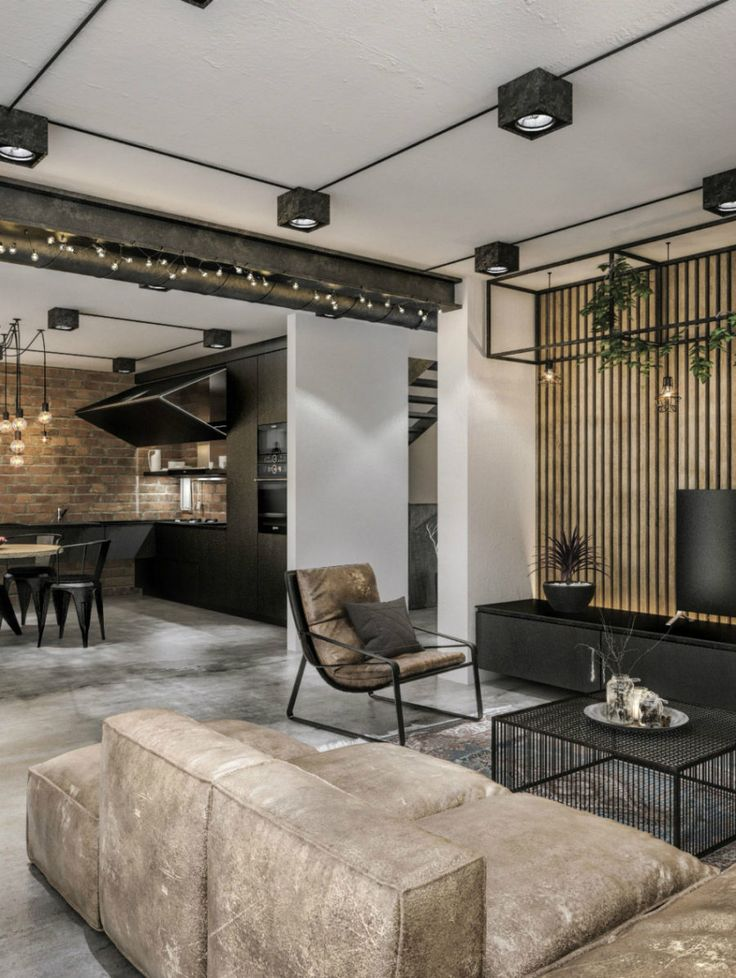 Dieses zeitgenössische Loft-Projekt beweist, dass Industrial Look Luxe sein kann – Wohnzimmer