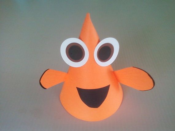 CLOWN FISH Birthday Party Hats (Set of 6) -- No under-the-sea party is complete without them! on Etsy, $18.00