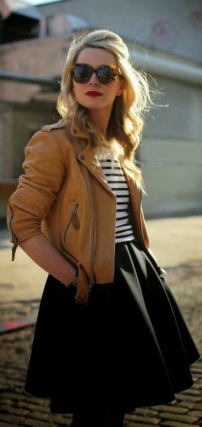 Adorable black lined blouse, brown leather jacket and simple black skirt!