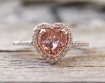 Round Champagne Pink Sapphire Diamond Halo Ring in by Studio1040